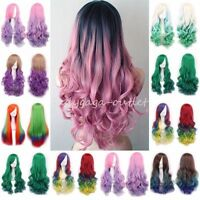 Ombre Pastel Hair Wigs Long Curly Wavy Women Girl Cosplay Fancy Costume Full Wig