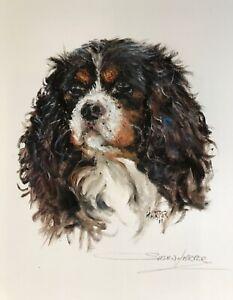 SALE Cavalier King Charles Spaniel Signed Dog Print by Susan Harper Unmounted