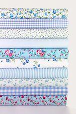 "Fabric Bundle Blue 10 Fat Quarters Polycotton Florals Gingham Craft Bunting 21"""