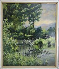 Helwig Lech * 1956 Polen Gemälde Wald Landschaft mit See / Teich