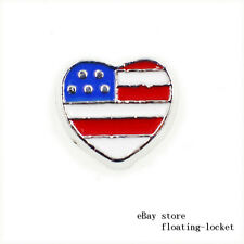 10pcs Flag Heart Floating Charm For Living Glass Locket Free Shipping FC1580