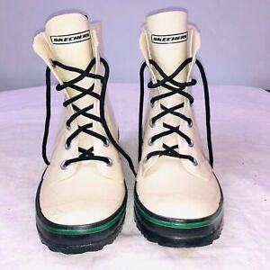 Skechers Womens SZ 8 Ivory Rain Boots Black Laces Rubber Casual Short Length
