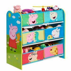 Peppa Pig Kids Storage Unit 6 Bin Playroom Toy Organiser Wooden Frame
