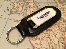 TRIUMPH WHITE PRINTED Quality Black Real Leather Keyring MOTORCYCLE MOTORBIKE