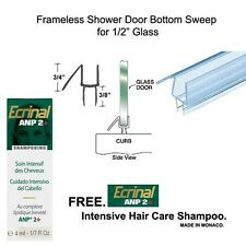 """Shower Door Bottom Seal with Drip Rail for 1/2"""" Glass - 32"""" long with Shampoo"""