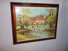 Vintage Mid Century PBN Paint By Number Country Church Craft House Framed Glass