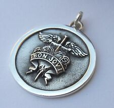 Solid Sterling Silver 925 3D Bon Jovi BAND Pendant