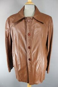 AMAZING VINTAGE 1970's CLASSIC BROWN LEATHER JACKET 42 INCH
