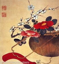 JAPANESE JAPAN RED FLOWER BUTTERFLY VINTAGE POSTER REPRO 12x16