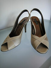 Charles & Keith Beige Satin & Leather Peep toes Size 38