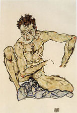 Egon Schiele Reproductions: Self Portrait Squatting - Fine Art Print