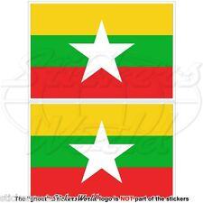 "MYANMAR Burma Flag, Burman Myanma, Burmese 100mm (4"") Bumper Stickers, Decals x2"
