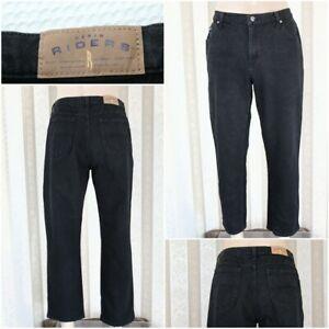 "LEE RIDERS Women's Size 16 P Petite Black Straight Leg Denim Jeans 28"" Inseam"