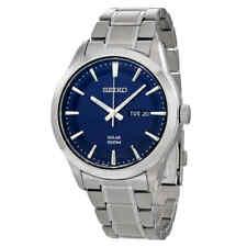 Seiko Sne361 Men's Solar 43mm Dial Watch - Silver/Blue
