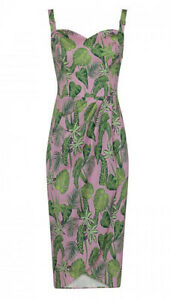 Ladies Mahina Pink Forest 1950's Rockabilly Sarong Vintage style Dress BNWT 14