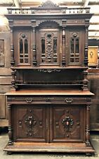Antique French Sideboard Oak Heavily Carved Renaissance Style  - OF035