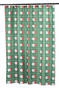 Holiday Christmas Winter Poinsettia Fabric Shower Curtain Standard Size 70 x 72