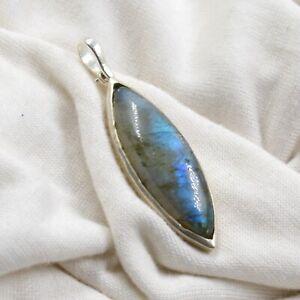925 Sterling Silver Jewelry Birthday Gift Fire Labradorite Gemstone Pendant