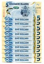 SOLOMON ISLANDS 5 DOLLARS ND(2019) P-NEW UNC LOT 10 PCS