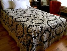 1960s Vintage Black & Cream Brocade Fringed BEDSPREAD 260cmW x 270cmL so Retro
