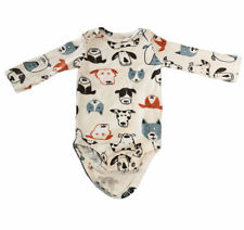 Carter's White Dogs Long Sleeve One-Piece 6 months