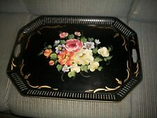 "VTG TOLEWARE  BLACK TRAY OCTAGON SHAPE HAND PAINTED w/HANDLES 17 1/2"" X 24"""