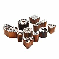 Lot Of 10 Pc Indian Wooden Textile Stamps Hand Carved Printing Block Brown Stamp