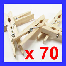 X 70 Extra Strong Wooden Clothes Pegs Washing Line Spring Coiled Hanging Dry SYD