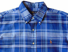 Men's RALPH LAUREN Blue White Plaid Oxford Style Shirt XL X-Large NWT NEW Cool!