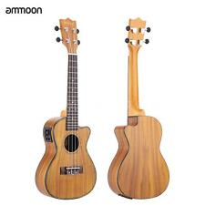 "ammoon 24"" Cutaway Ukulele Hawaii Guitar with LED EQ Koa Cowry Shell Brims G1M3"