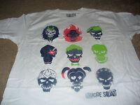 Suicide Squad Mens Joker Harley Quinn Skull White T-Shirt Size Large L