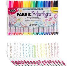 20 Brilliant Colours! Tulip Permanent Fabric Paint Markers Pens Set Paints Dye