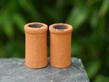 2 1:12th REAL BRICK ORANGE CHIMNEY POTS