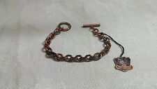 "Vintage Whiting & Davis Solid Copper Link Chain 7.5"" Toggle Clasp Bracelet"