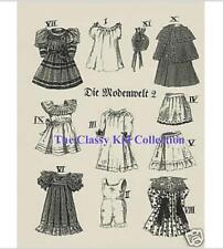 "German 9 & 11"" Antique Doll Patterns For Bleuette"