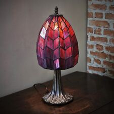"New 8"" Diameter Tiffany Stained Glass Table Lamp Purple Mood Lighting Hand Made"