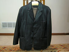 MENS ROUNTREE & YORKE BLACK/BROWN LAMBSKIN LEATHER JACKET - SPORTS COAT - MEDIUM