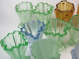 VINTAGE BAGLEY ART DECO Grantham Small Glass Posy Vases Selection Please Choose