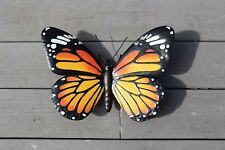 Primus Hand Finished Giant 3D Orange Metal Butterfly Garden Wall Art Ornament