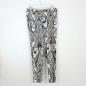 ETRO Trousers Pants Womens US8 IT44 Tapered Leg Paisley Ivory Black Beige Boho