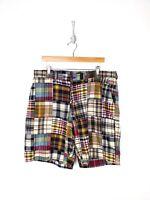 Polo Ralph Lauren Patchwork Shorts Men Size 38 Colorful Plaid Blue Green Red