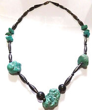 ANTIQUE OLD NATIVE AMERICAN NAVAJO STERLING SILVER & TURQUOISE BEAD NECKLACE