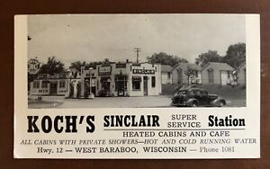 1930's Sinclair Gas Station Postcard Free Shipping