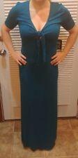 NWT Express Small Keyhole Teal Maxi Long Stretch Dress size MEDIUM