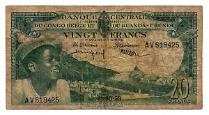 Belgian Congo Rwanda Burundi 20 Francs 1959 (AV619425)