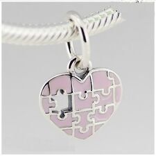 JIGSAW U COMPLETE MY HEART PINK DANGLE 925 Sterling Silver European Charm Bead