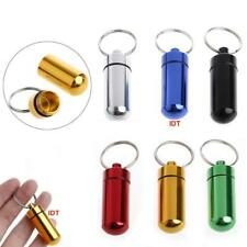 2x Keyring Tablets Medicine Container Pill Box Aluminium Key Chain Drug Holder