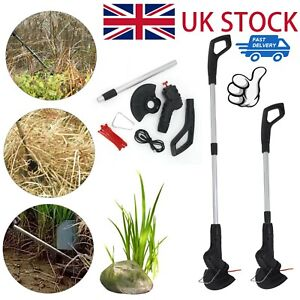 Electric Cordless Garden Grass Trimmer Rechargeable Weed Strimmer Cutter Set UK