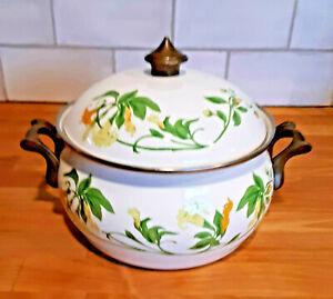 Vintage ASTA Enamelware (by Fissler) 2 1/2 - 3 Qt Dutch Oven w/Lid (honeysuckle)