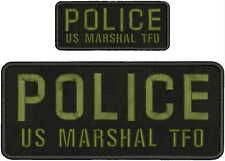 POLICE US MARSHAL TFO EMBROIDERY PATCH 4X10 &2X5 HOOK ON BACK BLK/od green